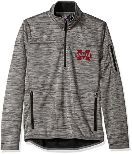 G-III Sports NCAA Mississippi State Bulldogs Men's Fast Pace Half Zip Pullover Jacket, Large, Heather Grey