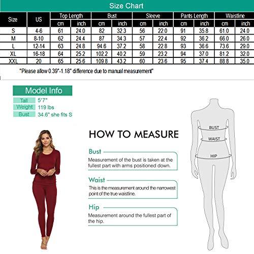 YAWOVE Thermal Underwear for Women Fleece Lined Thermals Ultra Soft Base Layer Long John Set S-XXL