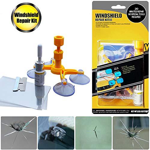 GLISTON Car Windshield Repair Kit for Chips and Cracks, Bulls-Eye, Star-Shaped, Nicks, Half-Moon Crescents