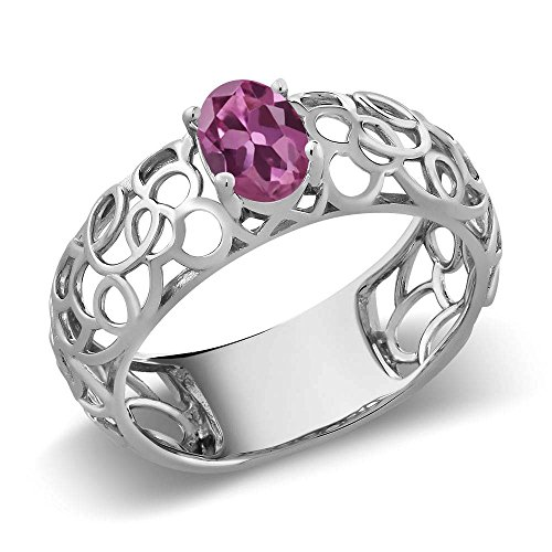 0.70 Ct Oval Pink Tourmaline AA 925 Sterling Silver Celtic Filigree Ring