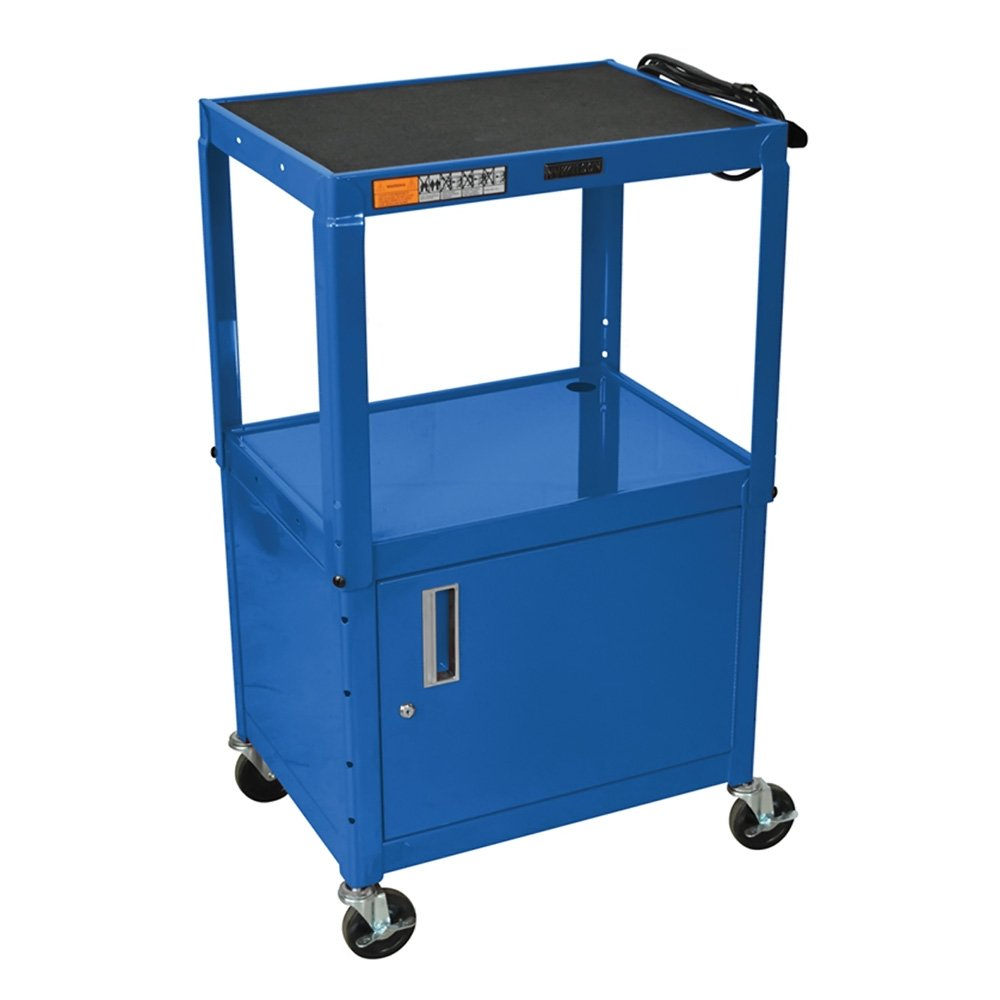 OF-W42ABUCE Offex Rolling Height Adjustable Steel AV Storage Utility Cart with Lockable Cabinet and Electric 4-Inch Heavy Duty Casters Blue