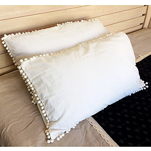 Pom Pom Fringe Pillowcases, Washed Cotton Pillow Sham Fringe Rolls, Durable for Standard/Queen Size Ivory White (19x29inches)-Set of 2