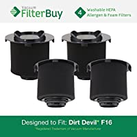 4 - FilterBuy Dirt Devil F16 (F-16) Washable HEPA & Foam Replacement Filters, Part # 1-JW1100-000, 2-JW1000-000. Designed by FilterBuy to fit Dirt Devil Vision & EnVision Wide Glide Vacuums