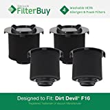 f16 hepa filter - 4 - FilterBuy Dirt Devil F16 (F-16) Washable HEPA & Foam Replacement Filters, Part # 1-JW1100-000, 2-JW1000-000. Designed by FilterBuy to fit Dirt Devil Vision & EnVision Wide Glide Vacuums