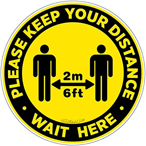 Work Place /& Customers /Made in The USA Coronavirus Thank You for Practicing Safe Distance Non-Slip Floor Graphic 12 Pack of 16 Vinyl Decal Protect Your Business