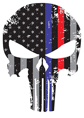 K9King Punisher Skull 5.5 x 4 Inch Tattered Subdued Us Flag Reflective Decal with Thin Blue and Red Line (Skull Right Decal)