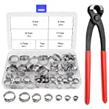 WGCD 70 PCS 304 Stainless Steel Single Ear Hose Clamps with Ear Clamp Pincer Kit, 7-21mm