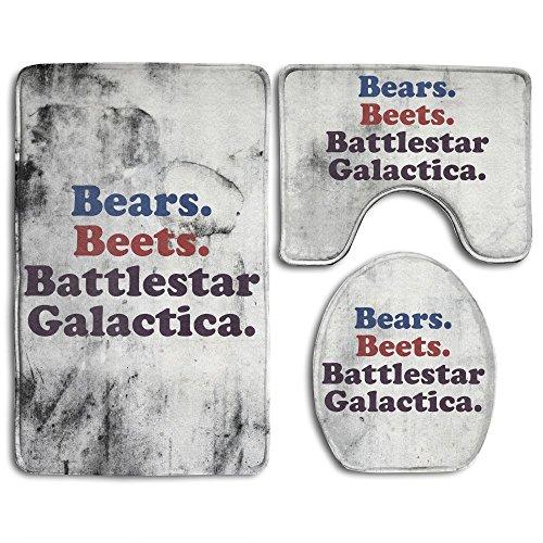 Bears Beets Battlestar Galactica Fashion Bath Mat Set 3 Piece Bathroom Mats Set Non-Slip Bathroom Rugs/Contour Mat/Toilet Cover