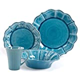 Cheap The Pioneer Woman Paige 16-Piece Dinnerware Set Bundle, Crackle Glaze, Set of 4 Mugs in Transparent Glaze, Denim