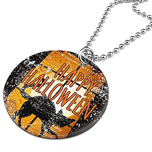 Halloween Night He Came Home Black Cat Women Men Jewelry Chain Necklace With Round Pendant