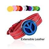 Red Series Leather Perfume Bangle Stainless Steel Elegant Air Freshener Essential Oil Diffuser Aromathrapy for Love &Free 12 Refilled Pads (Drum)