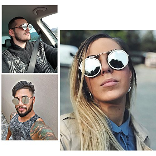de sol Redonda Espejo Steampunk de Gafas Punky Hombres Rosa Gafas metal gafas UV400 Mujeres Diseñador de de sol marca góticas la Envoltura M0vwfpMH5q