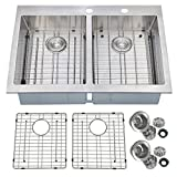Double Kitchen Sink PRIMART 33 x 22 inch Handcrafted Topmount 50/50 Double Bowl 16 gauge Stainless Steel Kitchen Sink, 9 Gauge Deck With Grid