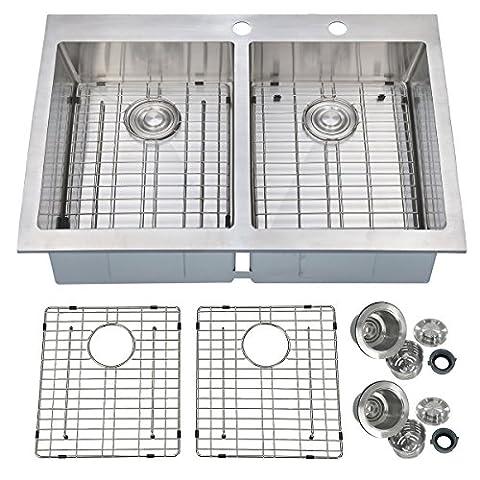 PRIMART 33 x 22 inch Handcrafted Topmount 50/50 Double Bowl 16 gauge Stainless Steel Kitchen Sink, 9 Gauge Deck With Grid