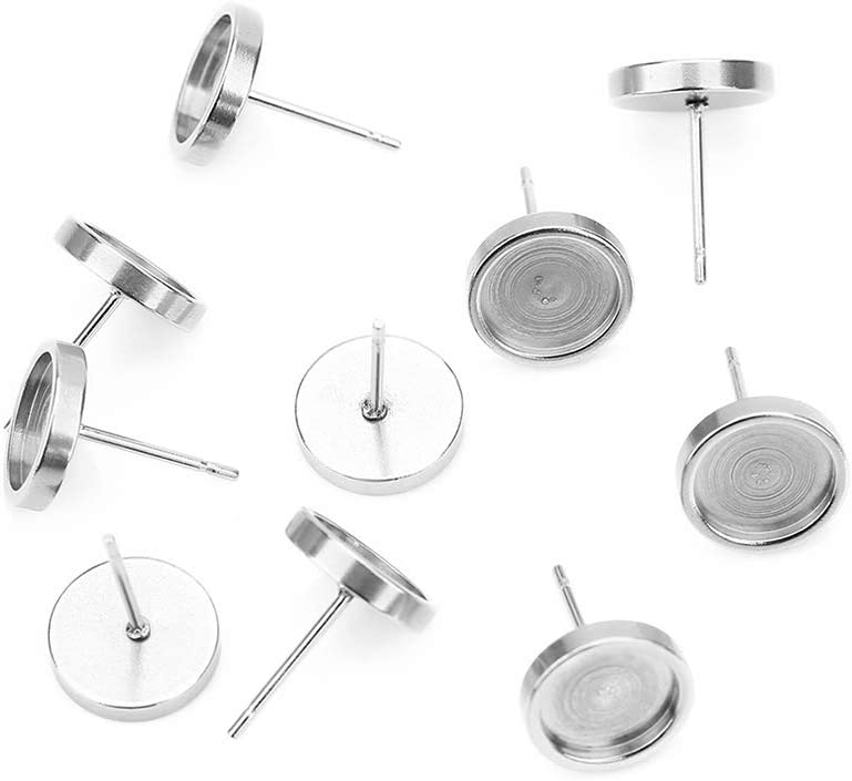 8mm 20 St/ück Ohrring Rohlinge Cabochons Ohrstecker Schmuckzubeh/ör Schmuckteile Basteln