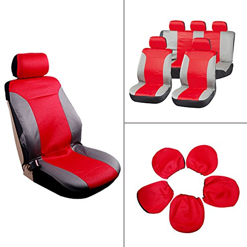ECCPP Universal Car Seat Cover w/Headrest - 100% Breathable Embossed Cloth Stretchy Durable for Most Cars Trucks Vans(Red/Gray)