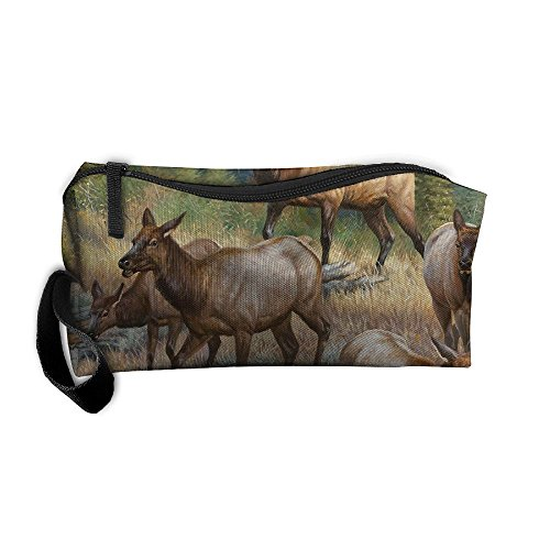 Cosmetic Bags With Zipper Makeup Bag Nature Deers Middle Wallet Hangbag Wristlet Holder -