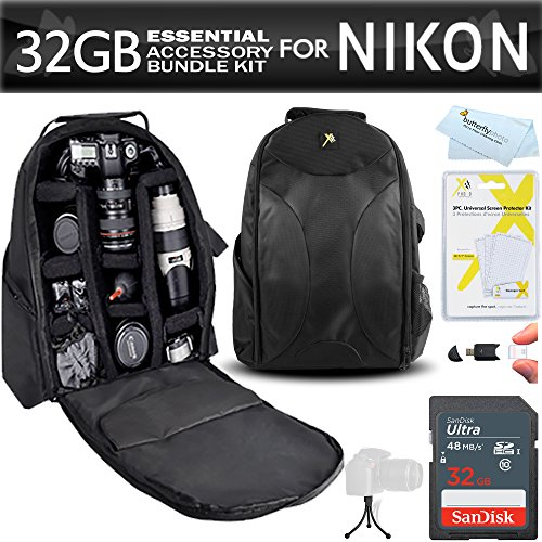 Essentials Accessory Bundle Kit For Nikon D7200, D7100, D7000, D5500, D5300, D5200, D3400, D3300, D3200, D3100, D800, D800E, D750, D600, D610, D300S, D90 DSLR Digital SLR Camera 32GB Card + BackPack