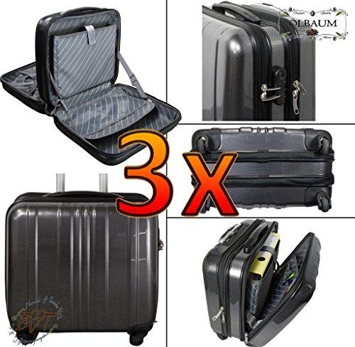 3 x valigetta da pilota-offerta volo valigetta/volo da viaggio accessori piloti-Trolley / - valigetta da viaggio zaino valigia grande con ruote modello 1 x Nero 2 x argento ampia larghezza Trolley extra resistente