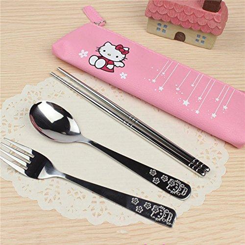 3PCS/SET Cartoon Hello Kitty and Doraemon Stainless Steel,