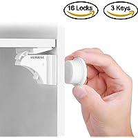 Sicurezza del bambino serratura magnetica set Hurrise nascosta a prova di bambino serrature di sicurezza per bambini cassettiera sistema di fissaggio senza trapano e viti (16Locks & 3chiavi)