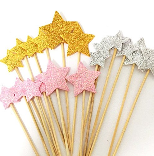 DoTebpa 48 Pieces Little Star Cupcake Toppers ,Food Picks Baby Shower Decor (Cupcake Cakes Baby Shower)
