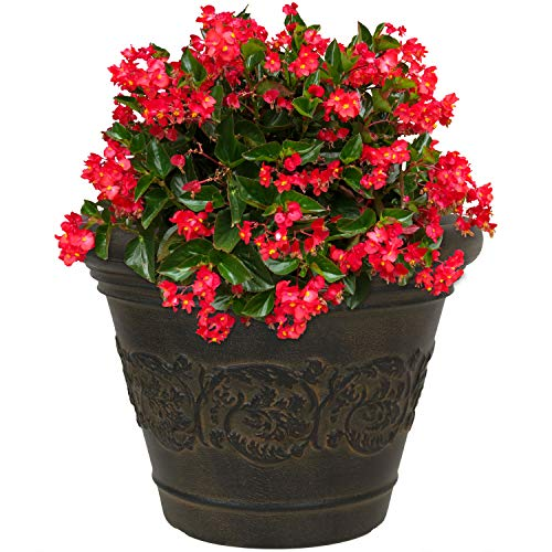 Sunnydaze Gwendolyn Flower Pot Planter, Outdoor/Indoor Unbreakable Double-Walled Polyresin, UV-Resistant Sable Finish, Single, 13-Inch Diameter