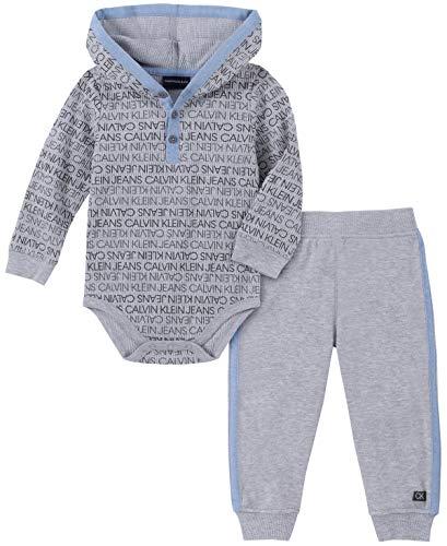 Calvin Klein Baby Boys 2 Pieces Bodysuit Pants Set, Gray Print, 3-6 Months