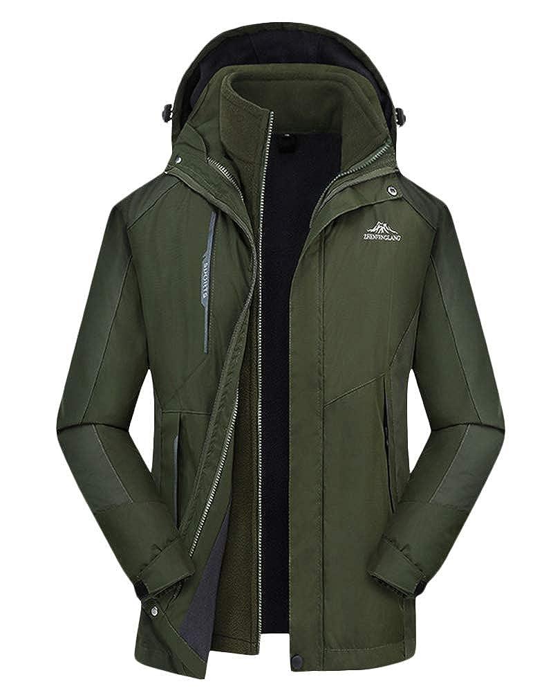 QitunC Damen Herren Outdoor Funktionsjacke 3 in 1 Wasserdicht Winddichte Kapuzen Mantel Wanderjacke Skijacke Doppeljacke
