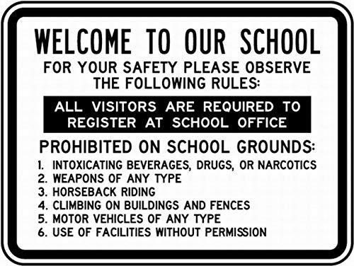 当学園へようこそ 金属板ブリキ看板注意サイン情報サイン金属安全サイン警告サイン表示パネル