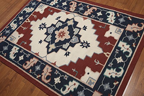4'x6' Gaia Ivory, Rust, Navy, Blue, Pale Pink, Multi Hand Knotted Persian Tabriz Wool Traditional Oriental Area ()
