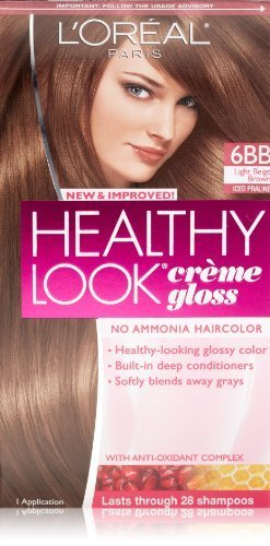 3 Pk, L'Oreal Paris Healthy Look Creme Gloss, Light Beige Brown / Iced Praline #6BB - High Gloss Praline