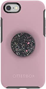 Otter + Pop for iPhone SE, 7 and 8: OtterBox Symmetry Series Case with PopSockets Swappable PopTop - Mauvelous and Sparkle Black