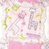 Baby girl rag quilt giraffe pink baby gift