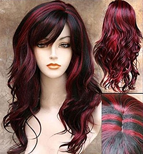 Red And Black Wig (AneShe Wig Women's 2 Tones Wine Red Mixed Black Big Wave Synthetic Hair Long Wavy Curly Hair Wigs (Red/Black))