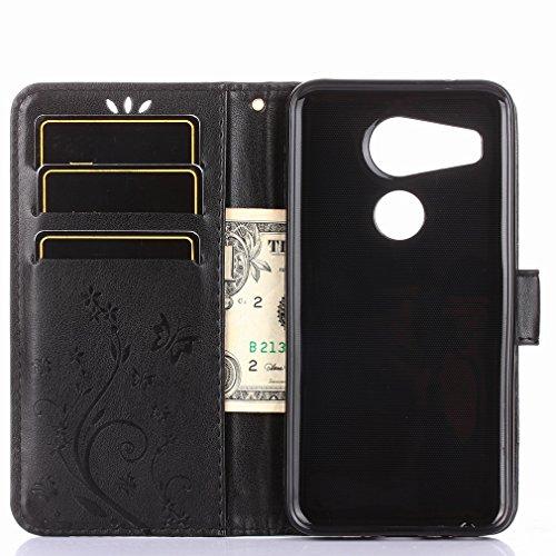 Yiizy LG Nexus 5X Custodia Cover, Erba Fiore Design Sottile Flip Portafoglio PU Pelle Cuoio Copertura Shell Case Slot Schede Cavalletto Stile Libro Bumper Protettivo Borsa (Nero)