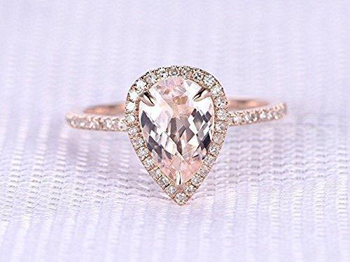 c0b6f692d29e24 6x9mm Pear Shape Cut Pink Morganite Diamond Halo Wedding Ring Solid 14k  Rose Gold Half Eternity Dainty Engagement Ring Gemstone Bridal Set  Anniversary ...