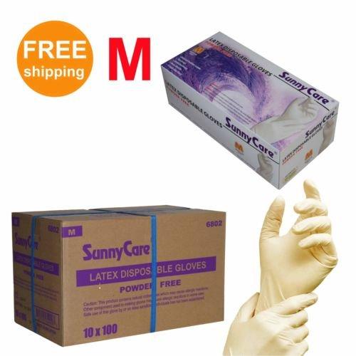 1000/cs Latex Disposable Gloves Powder Free -Size Medium 100pcs/box ; 10 Boxex/case