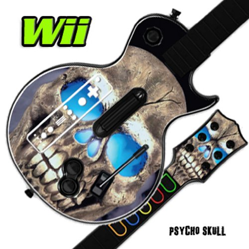Mightyskins Skin Decal Cover for GUITAR HERO 3 III Nintendo Wii Les Paul - Psycho Skull (Faceplate Wii Guitar)