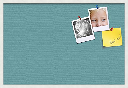 (PinPix pin Cork Bulletin Board Made from Canvas, Aqua Pastel 36x24 Inches 2 x 3 ft and Framed in Satin White Frame (PinPix-Group-89) )