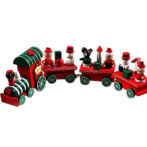 Binmer(TM)Kids Children Toy Wooden Toys Children Wooden Christmas Xmas Train Wooden Blocks Baby Early Learning Toys ()