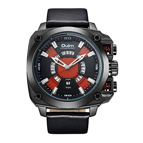 GOHUOS Men's Wrist Watches Quartz Sport Big Dial Military Analog Auto Date Leather Bracelet black (Military Quartz Bracelet)