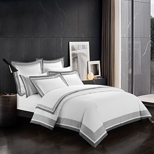 (Casabolaj Shading 3 Pieces Duvet Cover Set 100% Egyptian Cotton Sateen Luxury 400 Thread Count-Classic and Contemporary Frame Patchwork Button Closure and Corner Ties-White/Silver/Grey)
