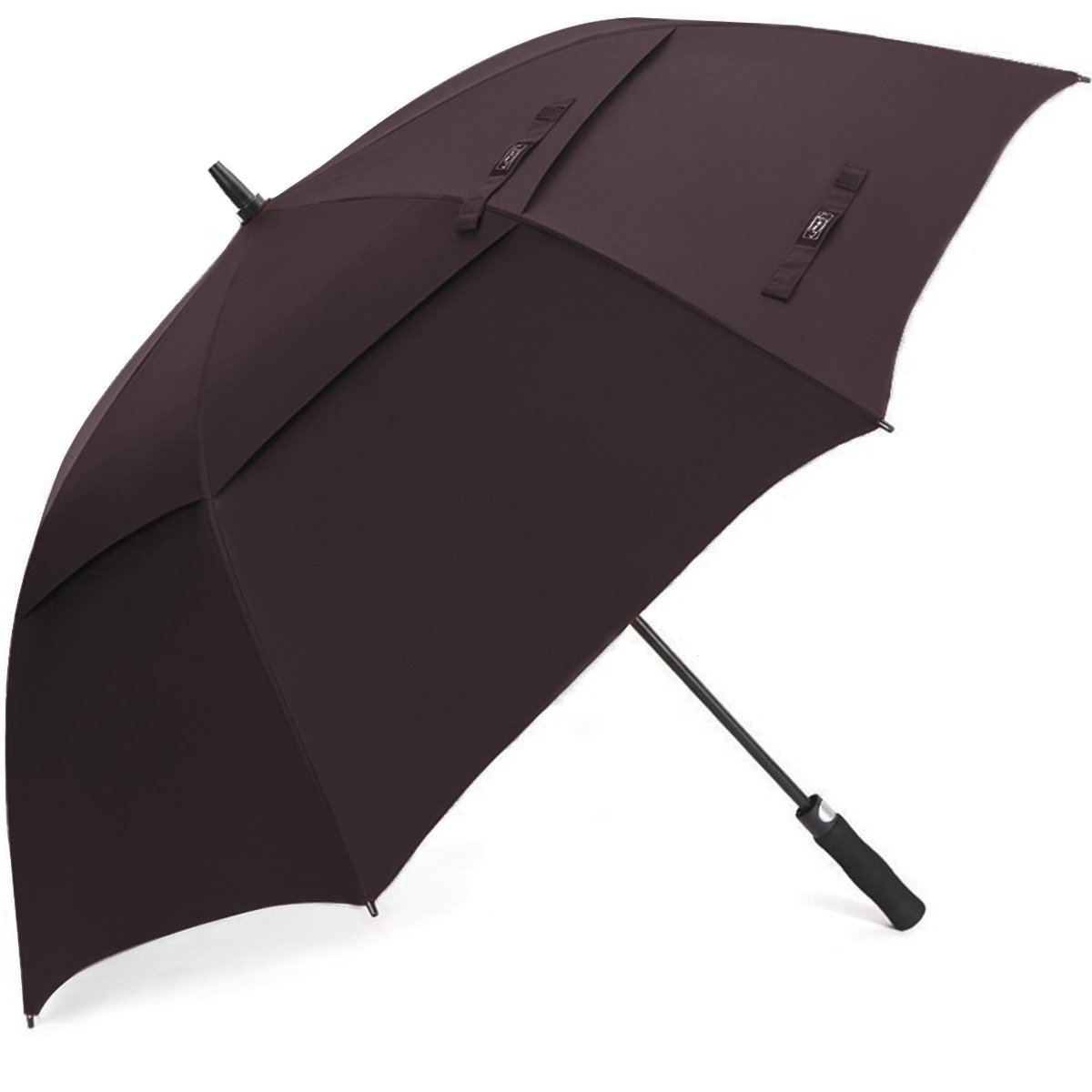 G4Free 68 Inch Automatic Open Golf Umbrella Double Canopy Extra Large Oversize Windproof Waterproof Stick Umbrellas(Coffee)