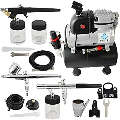 OPHIR Pro 110V Air Compressor Air Tank Cooking Fan 3x Airbrush Kit Set for Temporary Tattoo Body Painting
