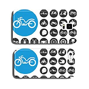 Motorcycles and bicycles icons set. Vector Illustration eps10 cell phone cover case Samsung S6