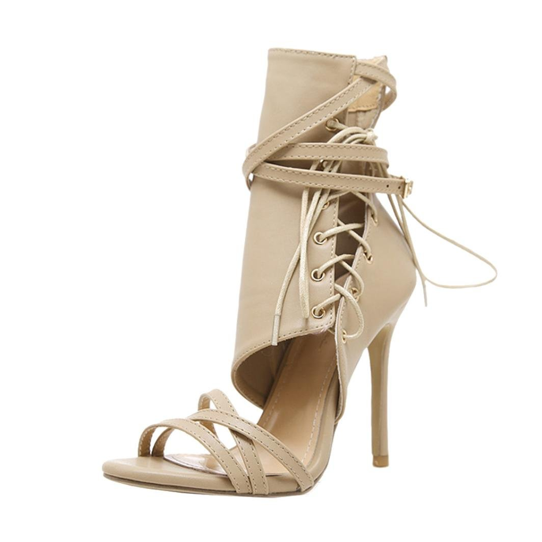 Likero Summer Fashion Women Buckle Strap Shoes High Heels Ankle Boots Sexy Sandals (Khaki, 40)