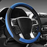 """Automotive : SEG Direct Black and Blue Microfiber Leather Steering Wheel Cover For F-150 Tundra Range Rover 15.5"""" - 16"""""""