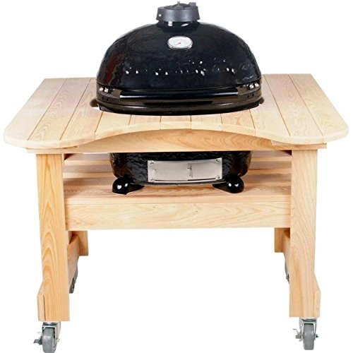 Primo Oval JR 200 Ceramic Smoker Grill On Curved Cypress Table by Primo