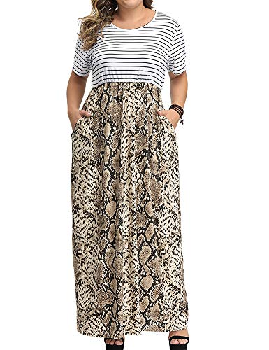 Allegrace Women's Plus Size Floral Print Striped Patchwork Maxi Dress Short Sleeve Long Dresses P45 Snakeskin Khaki 1X -
